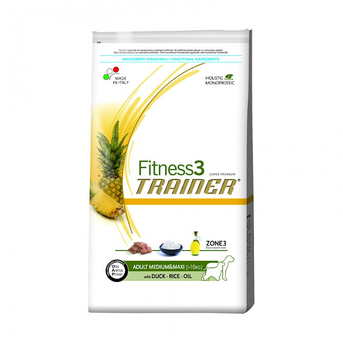 Fitness3 Trainer ADULT MEDIUM&MAXI (> 10 KG) with DUCK - RICE - OIL